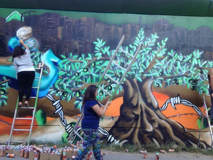 väggmålning olivträd Nørrebro